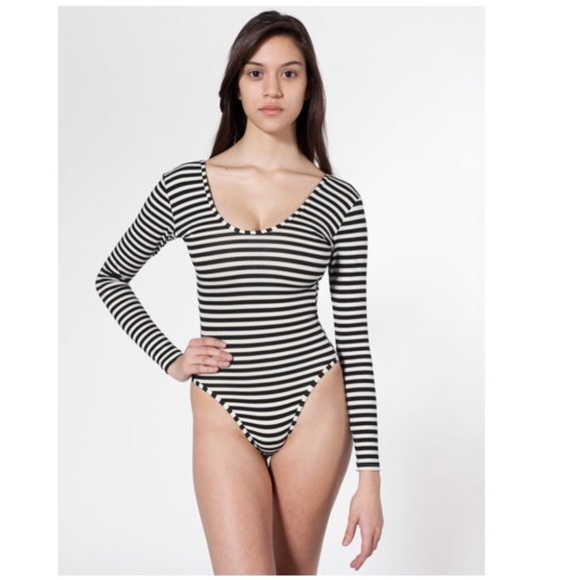 "American Apparel Tops - ""American Apparel"" long sleeve striped bodysuit c449a8297"